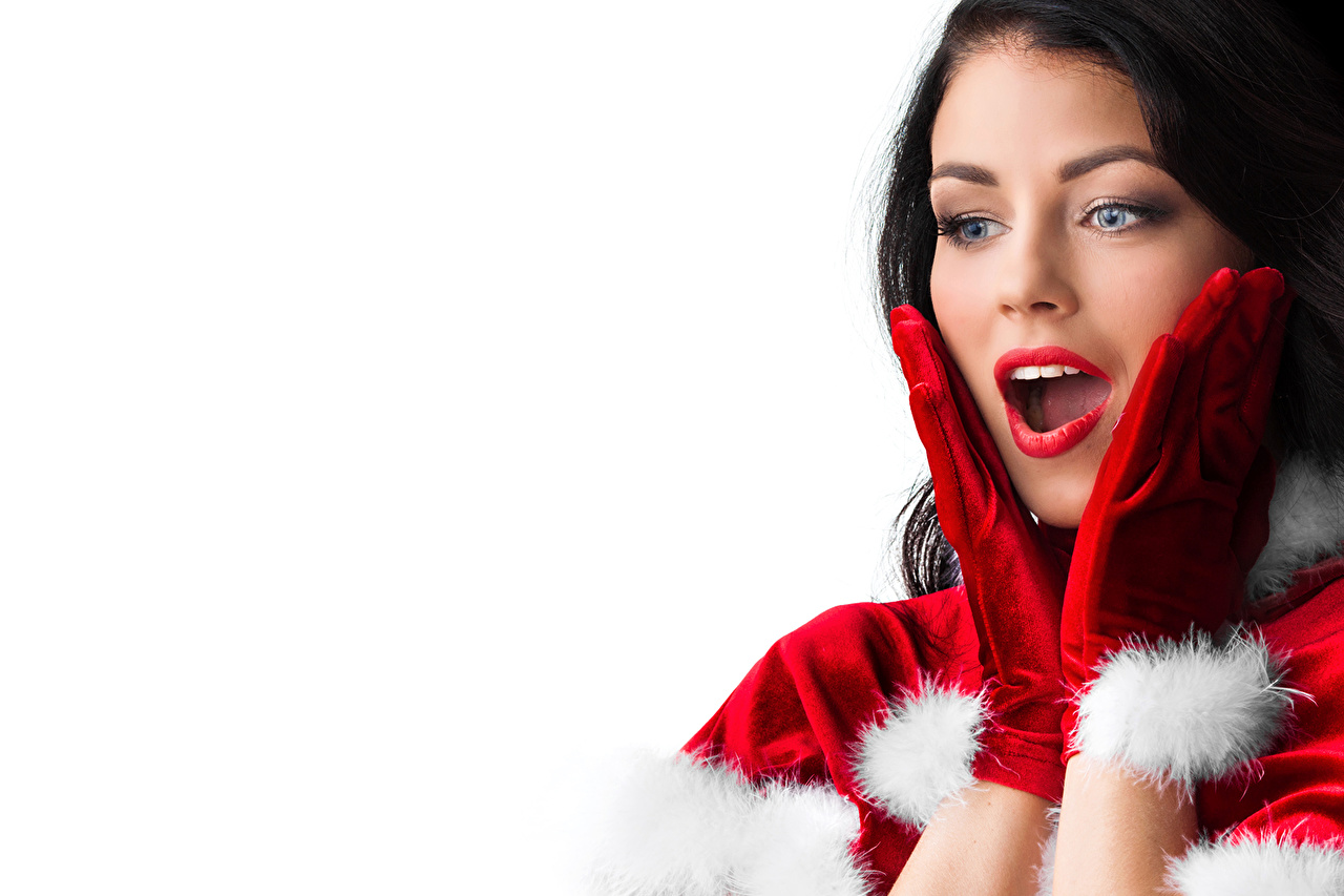 Pictures New year Brunette girl Glove amazement Face young woman Hands White background Christmas surprised Surprise emotion Girls female