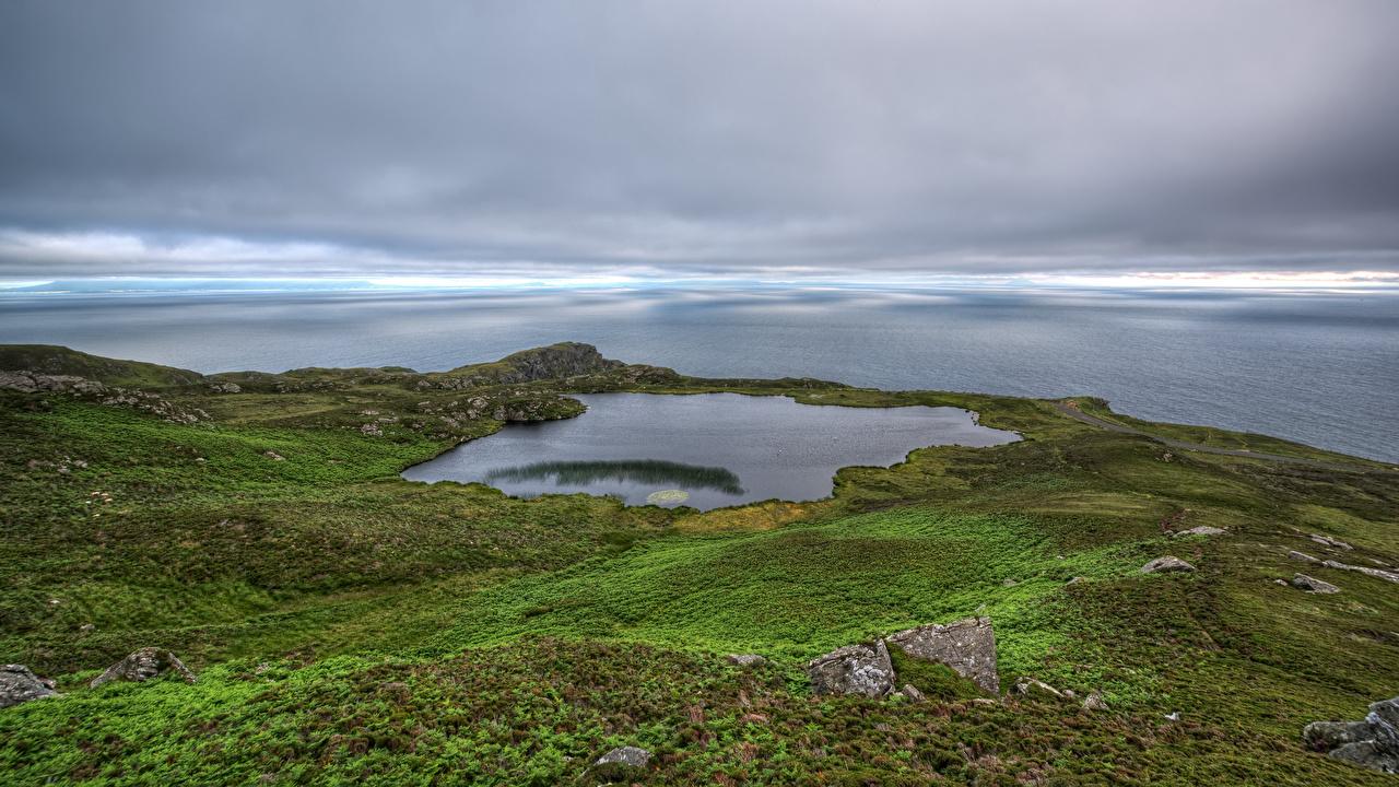 Bilder Irland Donegal, Loch O'Mulligan Natur See Küste Wolke