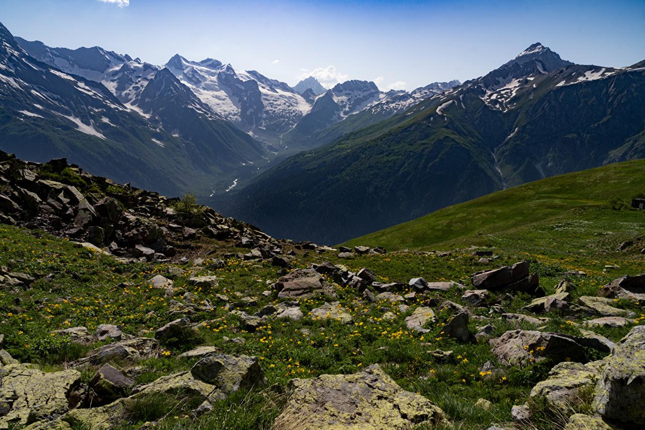 Bilder Russland Dombay Natur Gebirge Steine Berg Stein