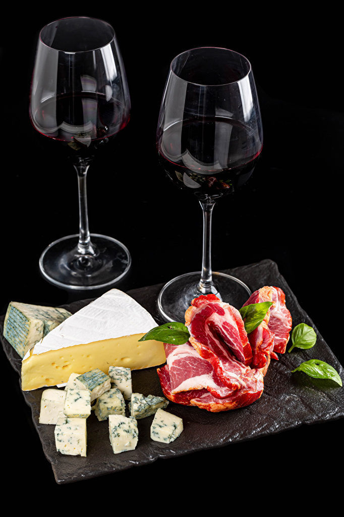 Photo 2 Wine Cheese Food Stemware Meat products Black background  for Mobile phone Two