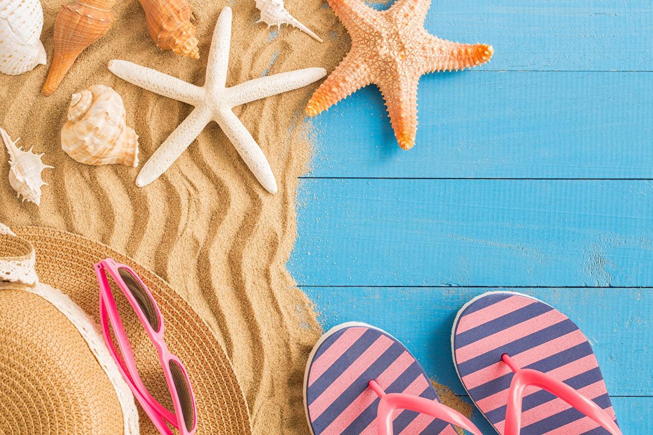 Desktop Wallpapers Starfish Flip-flops Summer Sand sea stars