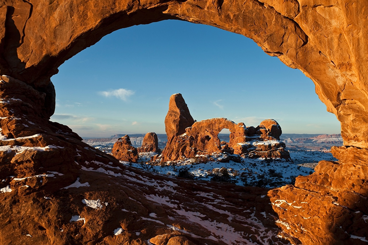 Image USA Arch Utah, Arches National Park Crag Nature park Snow Rock Cliff Parks