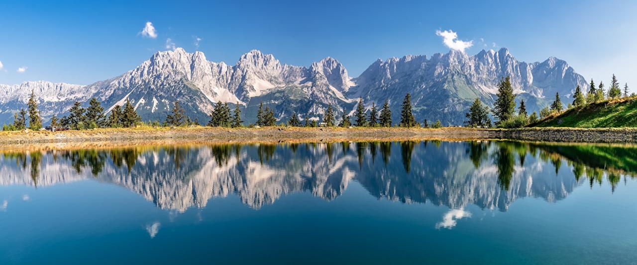 Photos Nature Austria panoramic Tyrol mountain reflected Lake Alps Panorama Mountains Reflection