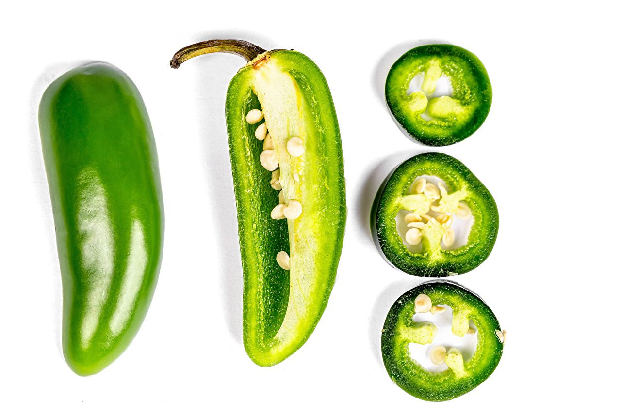 Images Green Piece Food Bell pepper White background pieces