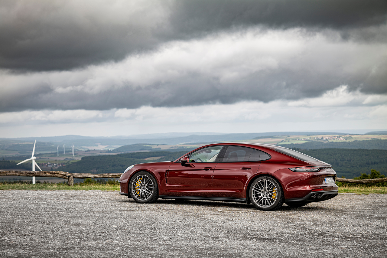 Photo Porsche Panamera Turbo S, (971), 2020 maroon auto Metallic dark red burgundy Wine color Cars automobile