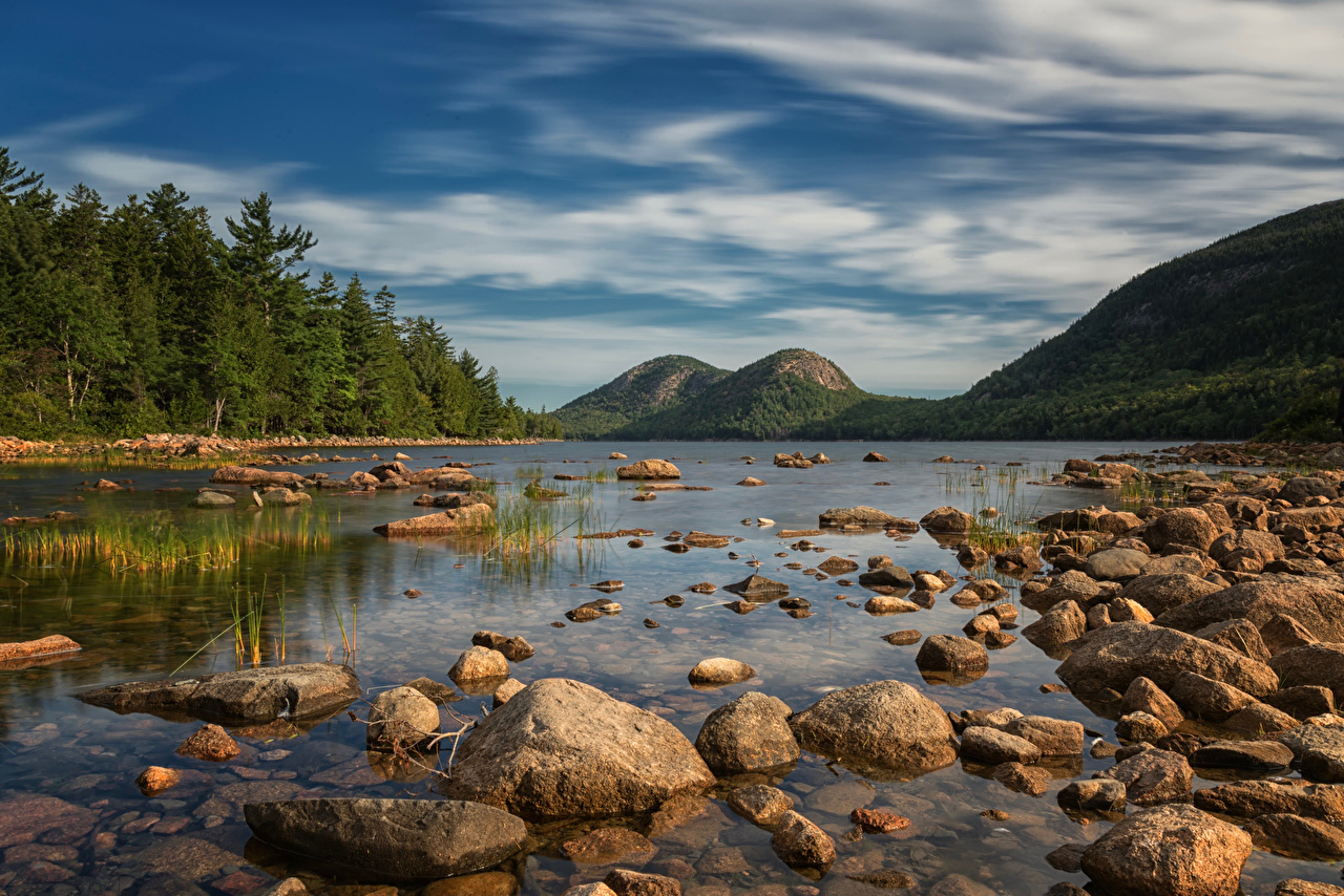 Desktop Wallpapers USA Acadia National Park Nature mountain park Lake Stones Mountains Parks stone