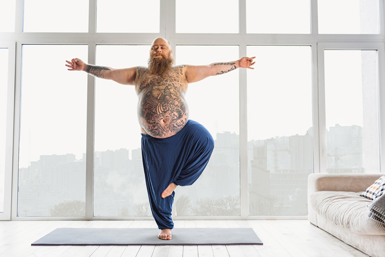 Desktop Hintergrundbilder Tätowierung Joga Mann Dick Fitness Sport Yoga sportliches