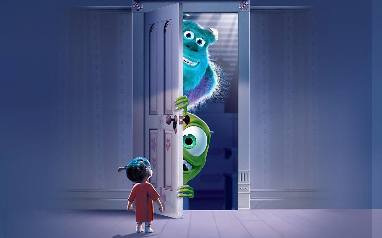 Foto Die Monsters AG Kleine Mädchen Ungeheuer Animationsfilm türen 1280x800 Monsters Zeichentrickfilm Tür