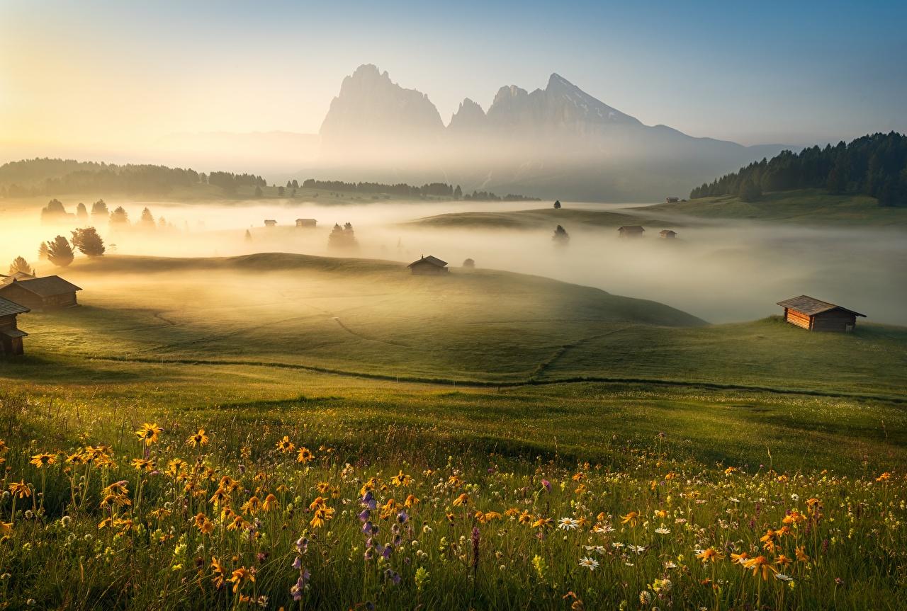 Fotos von Alpen Italien Dolomites Nebel Natur Gebirge Morgen Grünland Gras Berg
