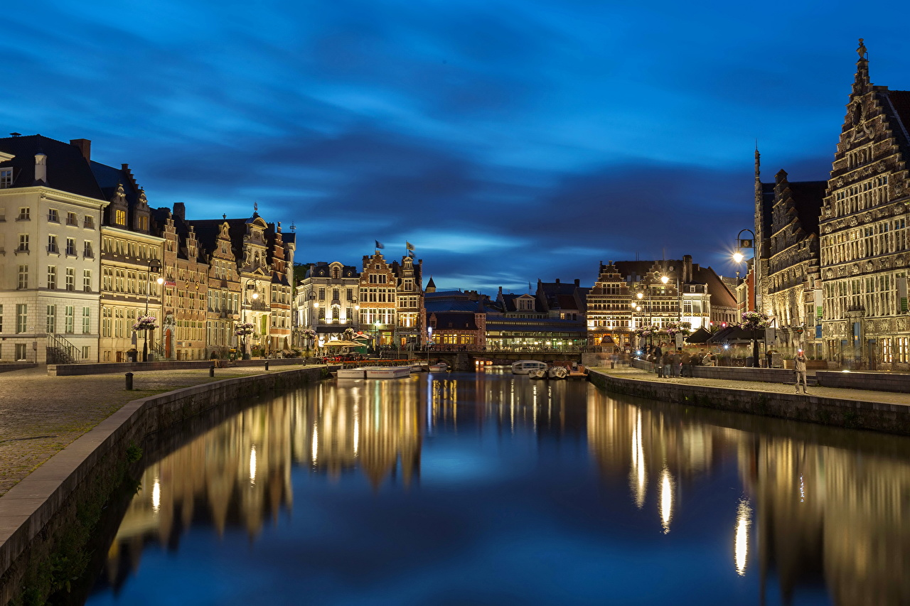 Image Ghent Belgium Canal night time Cities Building Night Houses