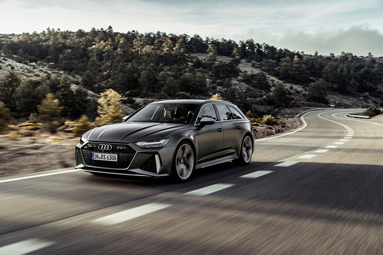 Images Audi Station wagon RS 6 2020 2019 V8 Twin-Turbo Avant Grey Roads at speed automobile Estate car gray moving riding Motion driving Cars auto