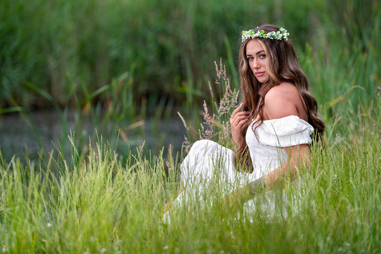 Foto unscharfer Hintergrund Kranz Mädchens Gras Sitzend Blick Kleid Bokeh junge frau junge Frauen sitzt sitzen Starren