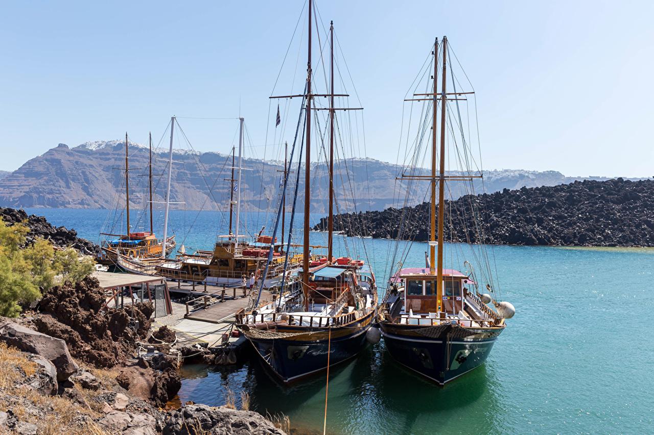 Фото Тира Греция Природа корабль залива Причалы Парусные Фира Санторини Корабли Пирсы Залив заливы Пристань