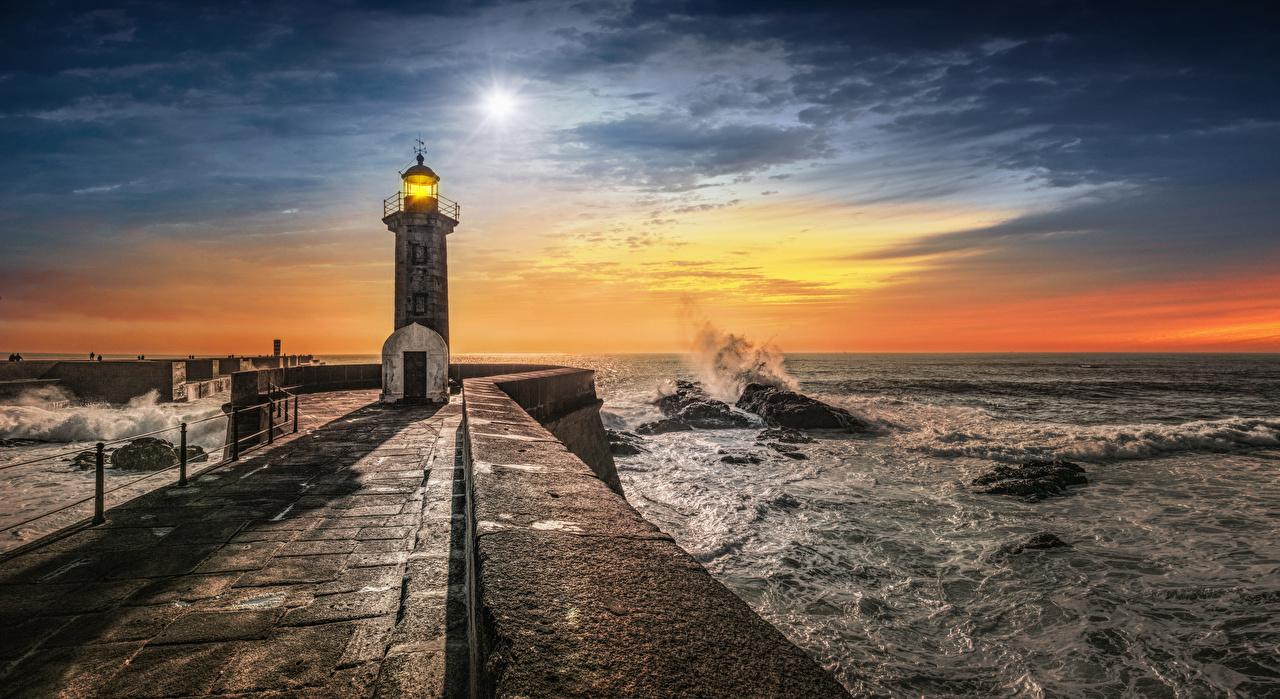 Picture Oporto Portugal Nature Lighthouses Waves Coast Evening Porto
