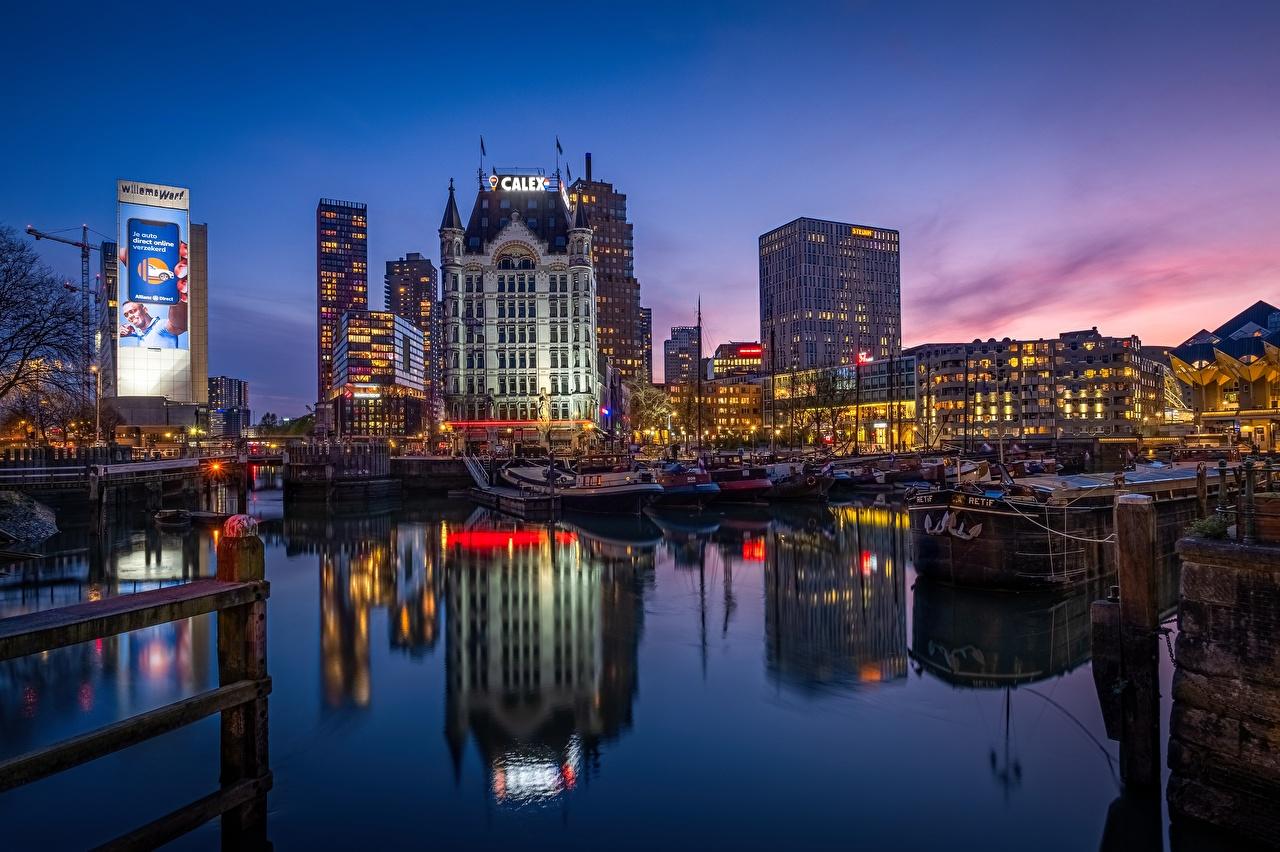 Desktop Wallpapers Rotterdam Netherlands Old Harbor, Wijnhaven Rivers Evening Houses Cities river Building