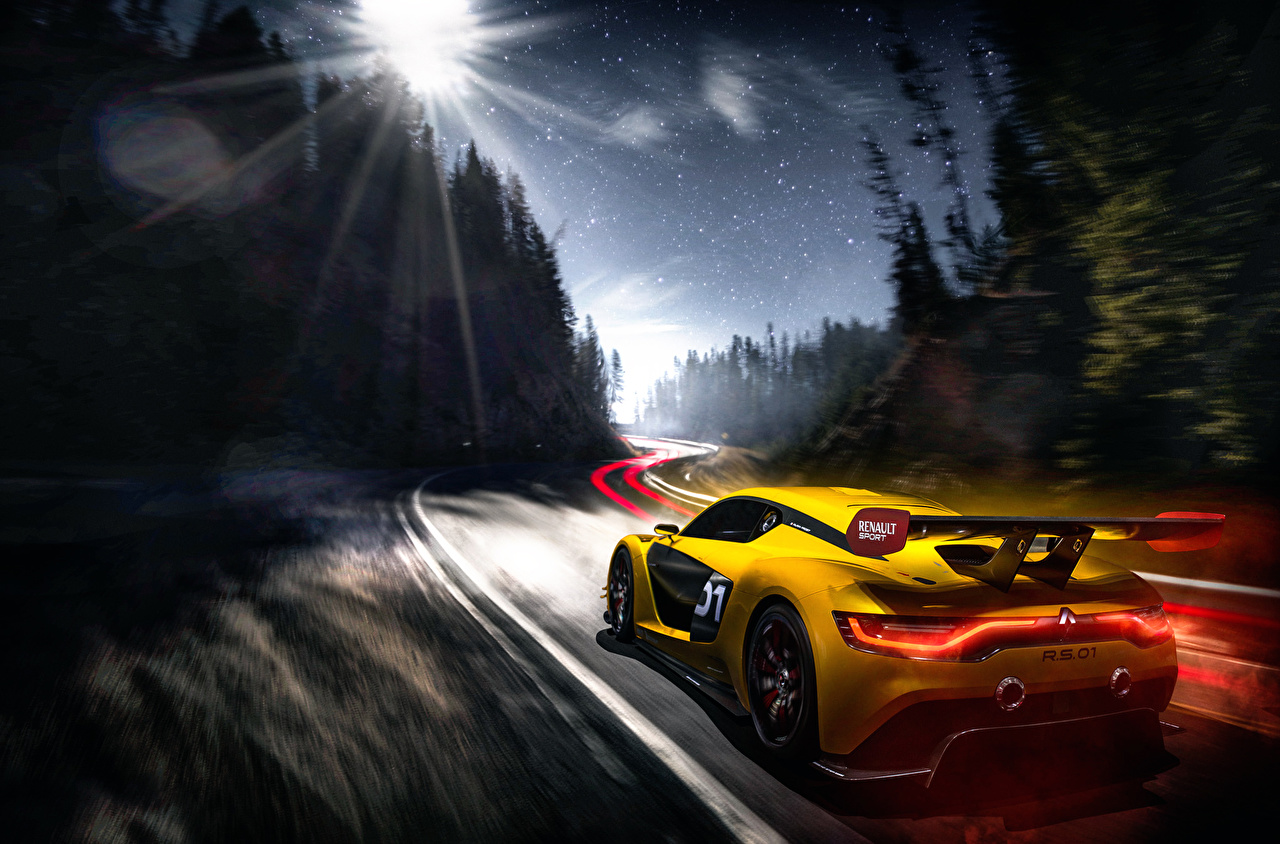 Desktop Wallpapers Renault Sport Yellow Moving Cars Back View