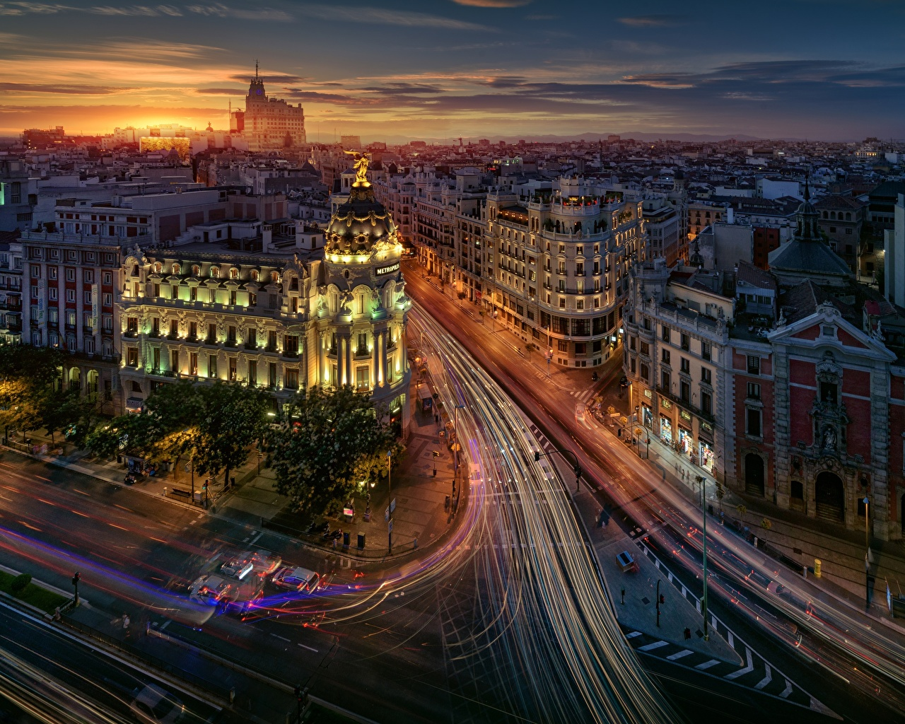 Pictures Madrid Spain Roads Street Motion Evening From above Houses Cities moving riding driving at speed Building