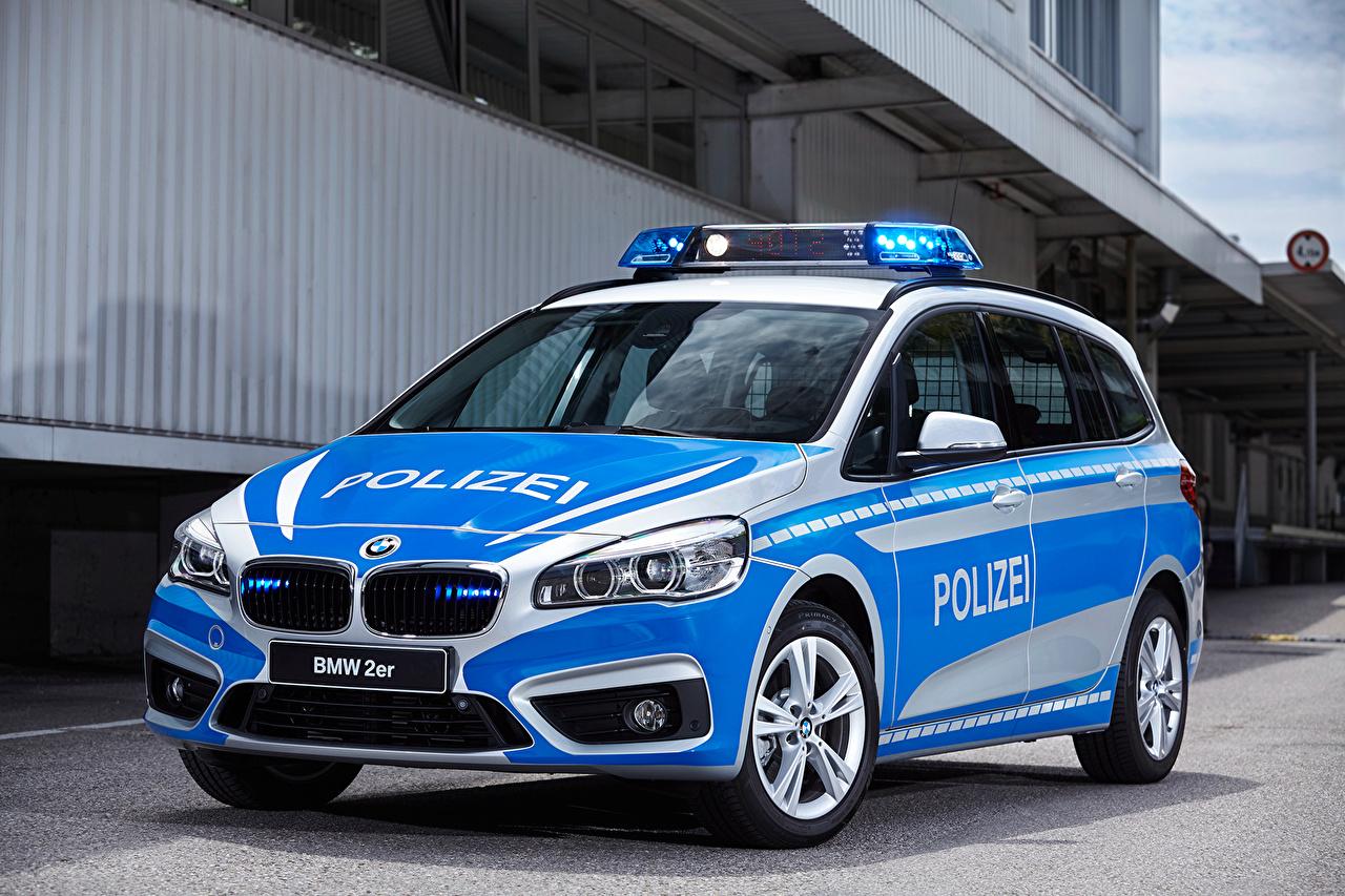Photo BMW Tuning Police 2016 220d xDrive Gran Tourer Polizei Metallic automobile Cars auto