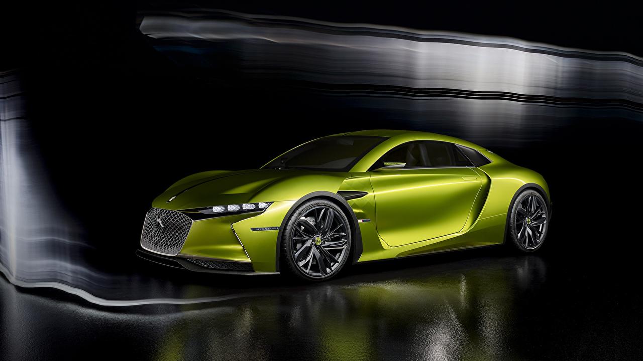 Photo Citroen 2016 DS E-Tense concept Yellow green automobile lime color auto Cars