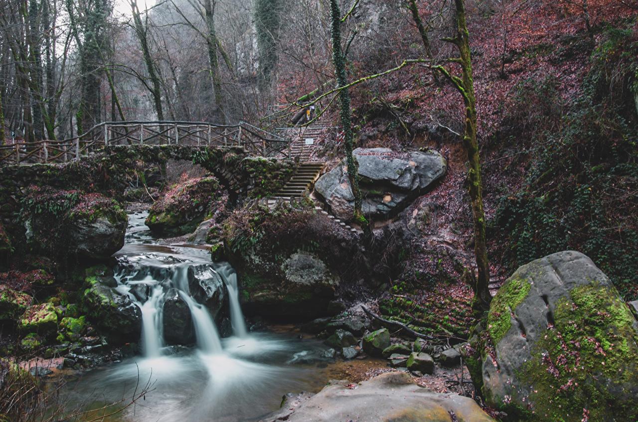 Foto Luxemburg Schiessentumpel Cascade Natur Brücken Wasserfall Flusse Steine Laubmoose