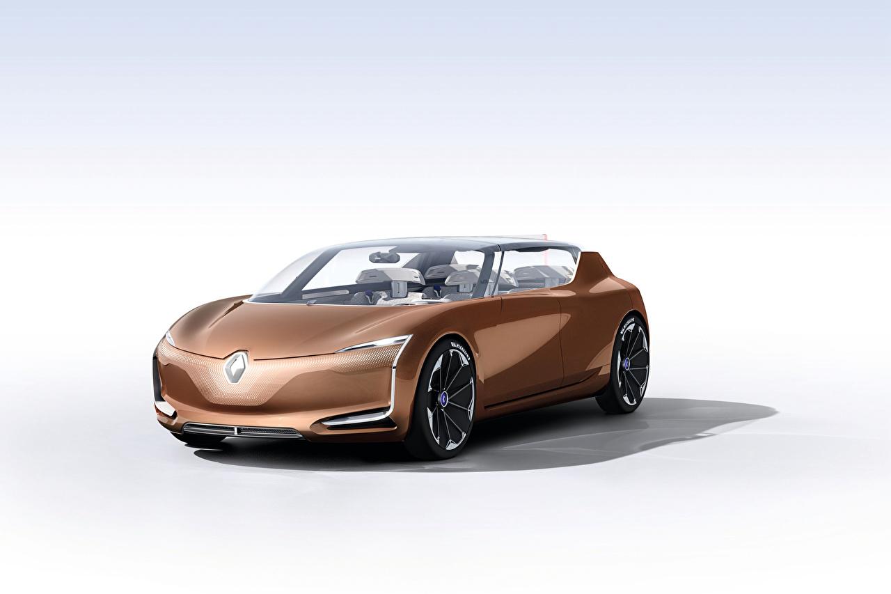 Bilder Renault Symbioz 2017 braunes automobil Metallisch Weißer hintergrund Braun braune auto Autos