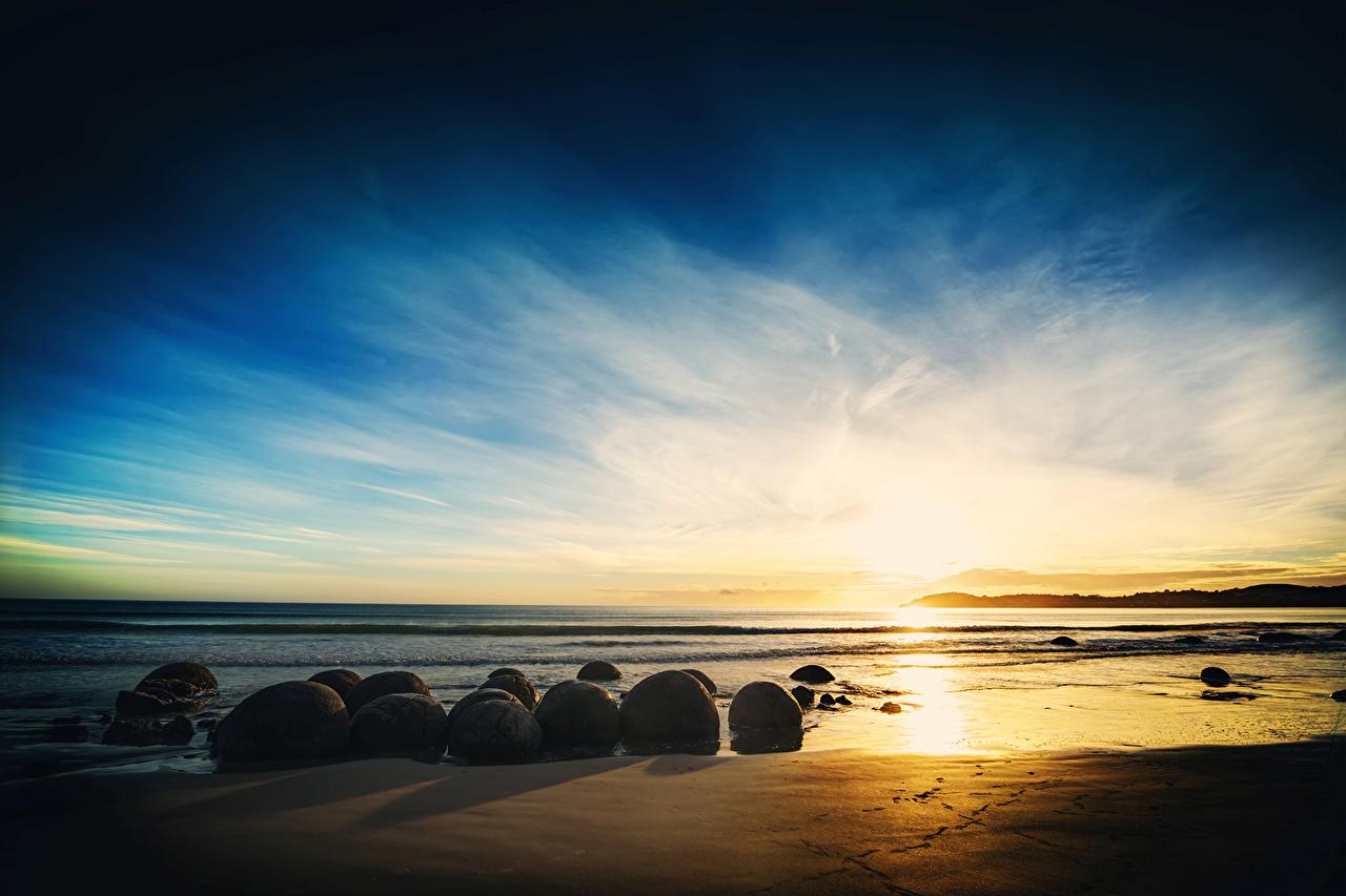 、海、海岸、空、石、朝焼けと日没、ビーチ、砂浜、自然、