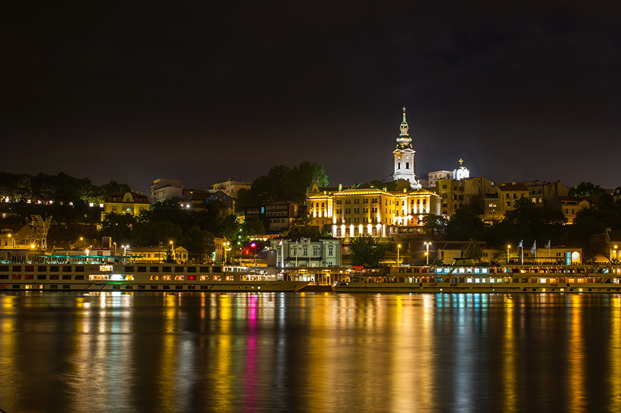Pictures Cities Belgrade Coast Water Rivers Serbia Night river night time