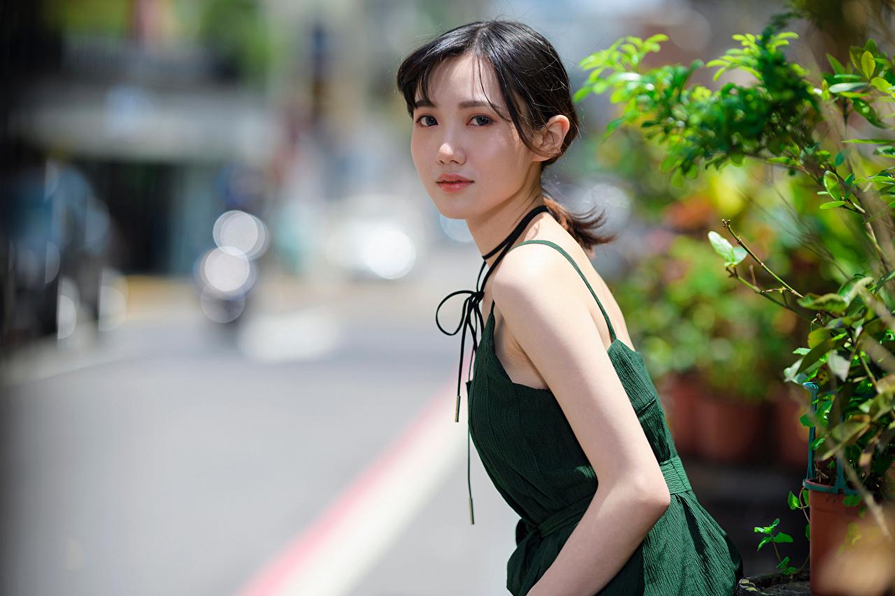 Desktop Hintergrundbilder unscharfer Hintergrund junge frau Asiaten Blick Kleid Bokeh Mädchens junge Frauen Asiatische asiatisches Starren