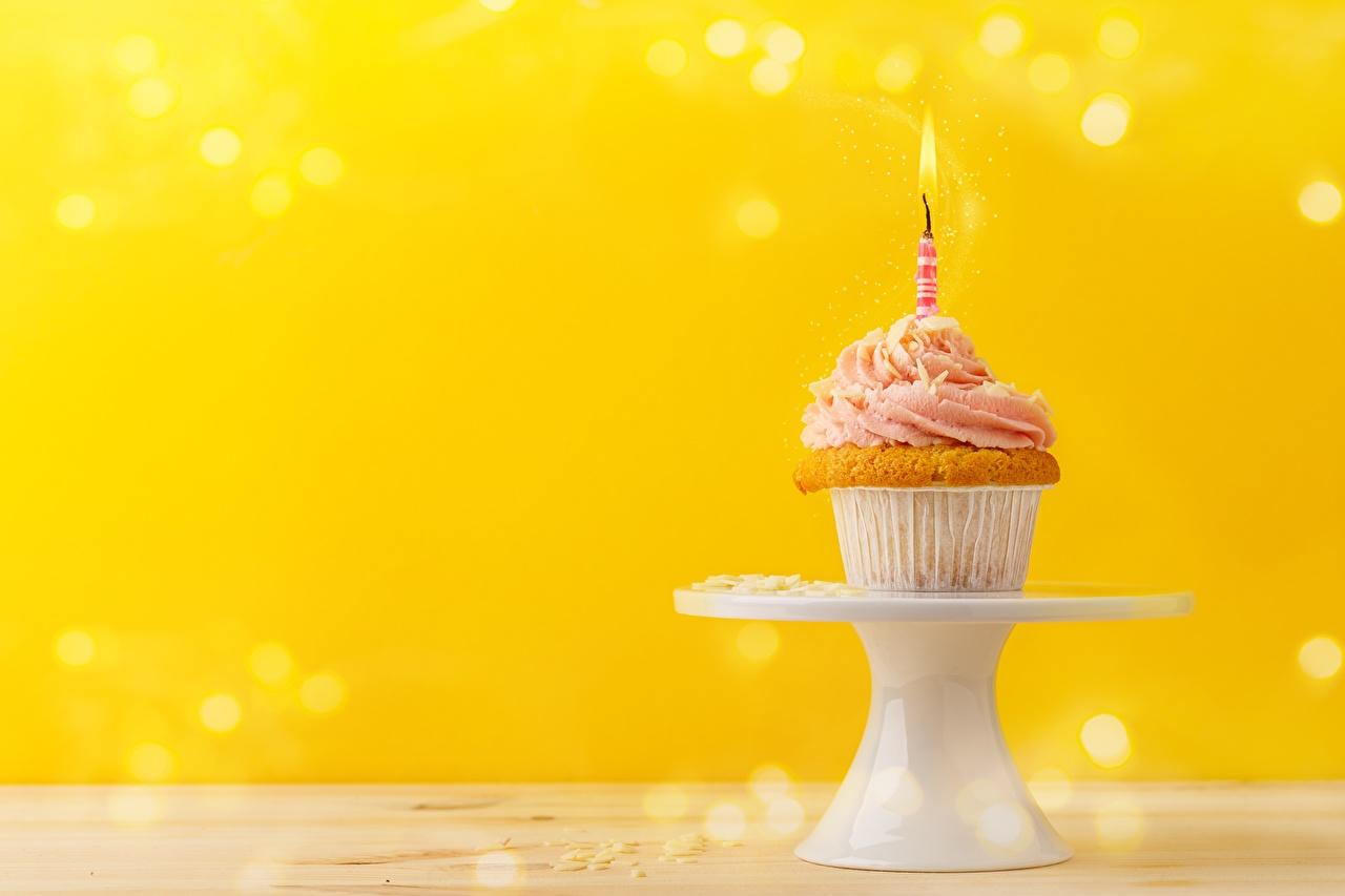 Photos Birthday Cupcake Food Candles fairy cake