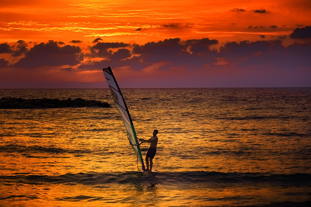 Images Men Windsurfing Sea Surfing athletic sunrise and sunset Horizon Man Sport sports Sunrises and sunsets
