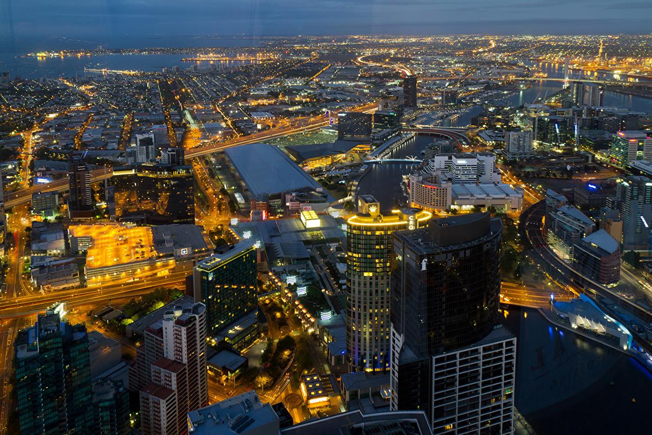 Photo Melbourne Australia Megapolis Night Cities megalopolis night time