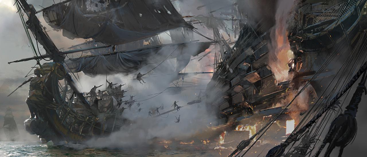 Fonds D Ecran Pirates A Voile Navire Bataille Skull And Bones Jeux Telecharger Photo