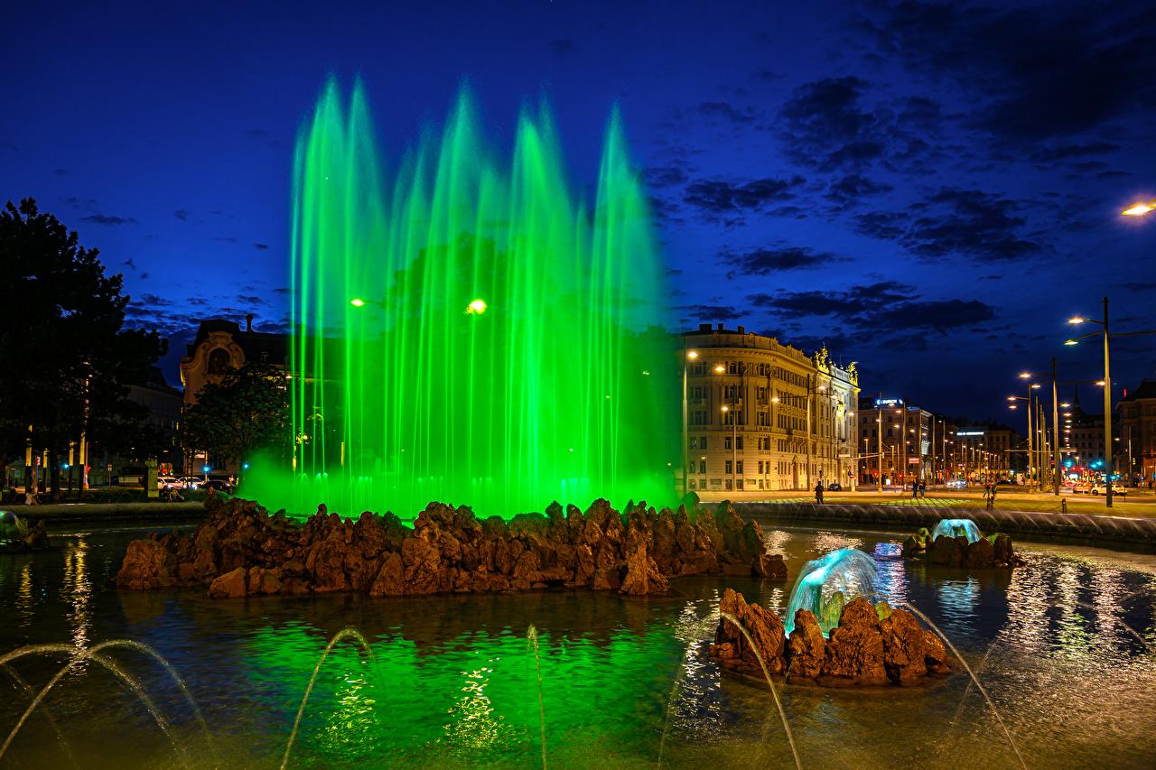 Image Vienna Austria Fountains Street Night Street lights Cities night time
