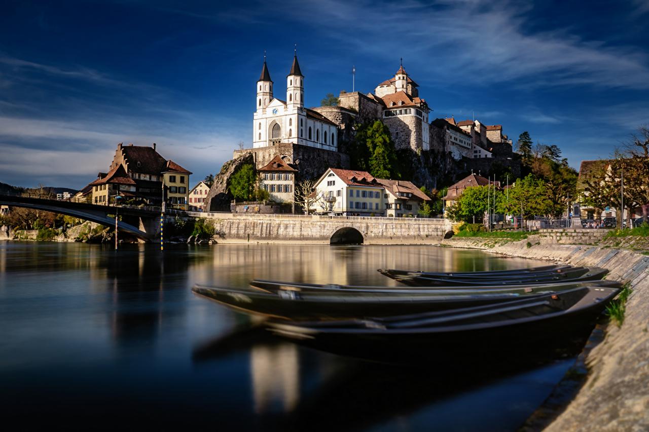Desktop Wallpapers Switzerland Aarburg, Aare River castle Boats river Cities Houses Castles Rivers Building
