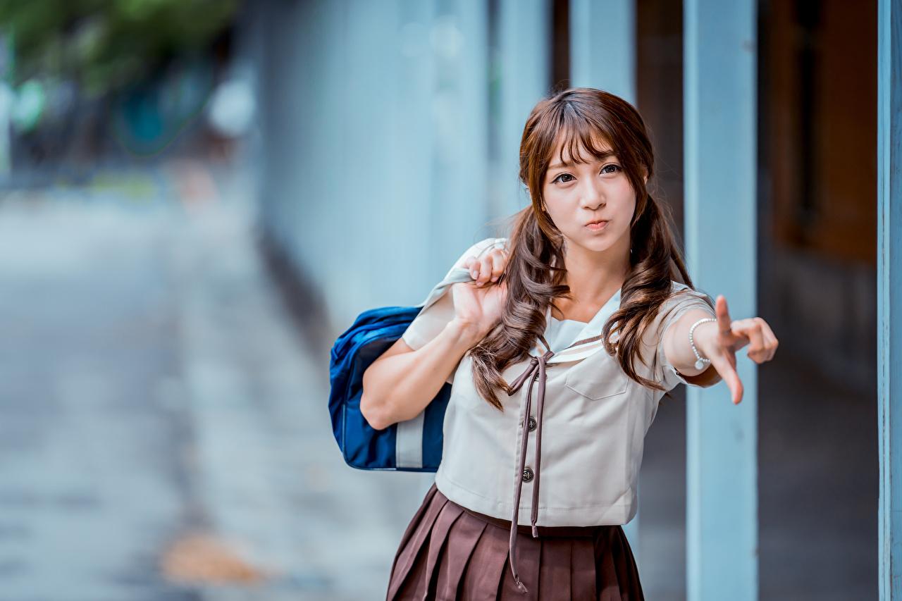 壁紙 アジア人 ボケ写真 手 茶色の髪の女性 女子学生 少女