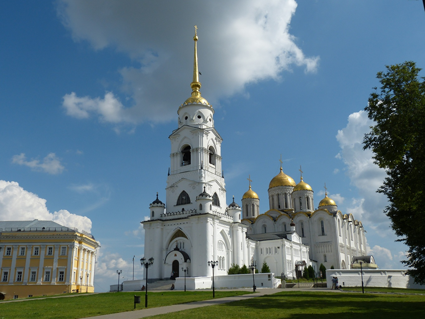 Photo Church Cathedral Russia Vladimir, Dormition domes Gold color Sky Clouds Cities Dome