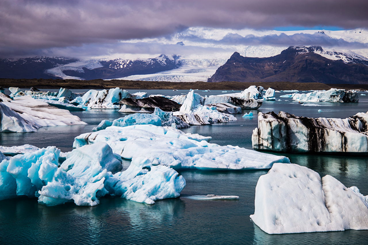 Pictures Iceland Ice Nature mountain Clouds Mountains