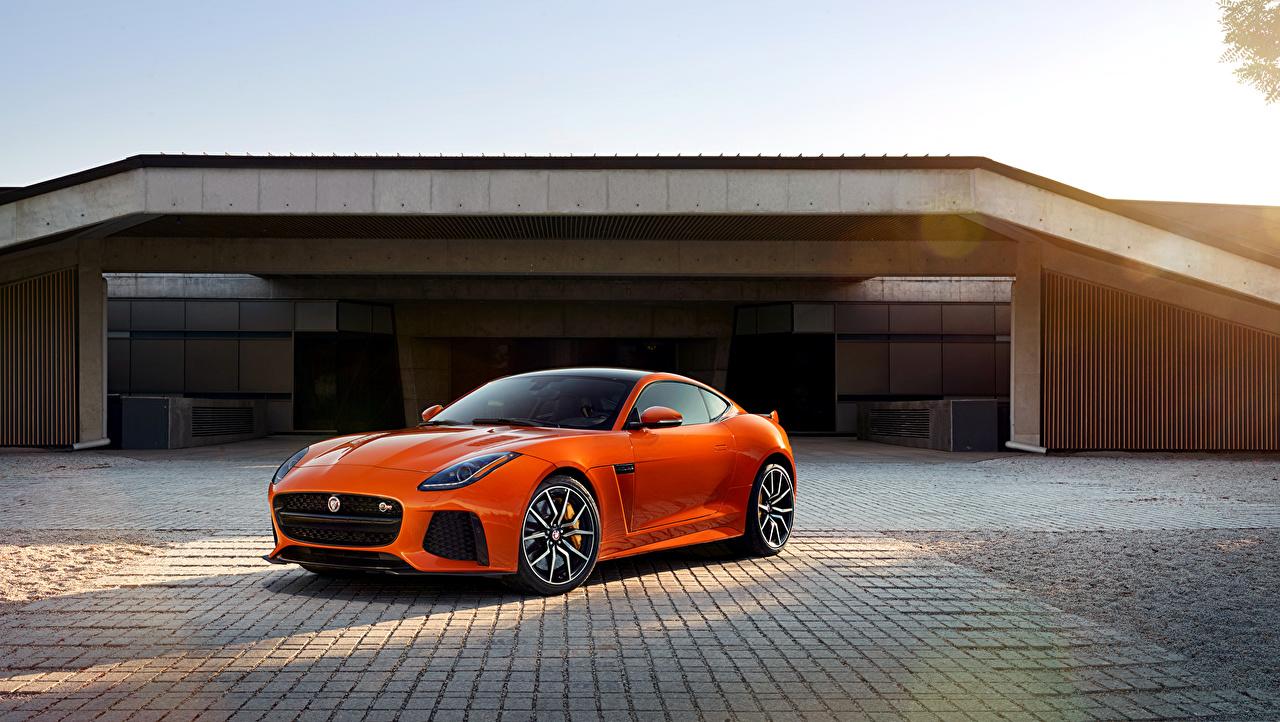 Desktop Wallpapers Jaguar 2016  F-Type SVR Orange Cars auto automobile