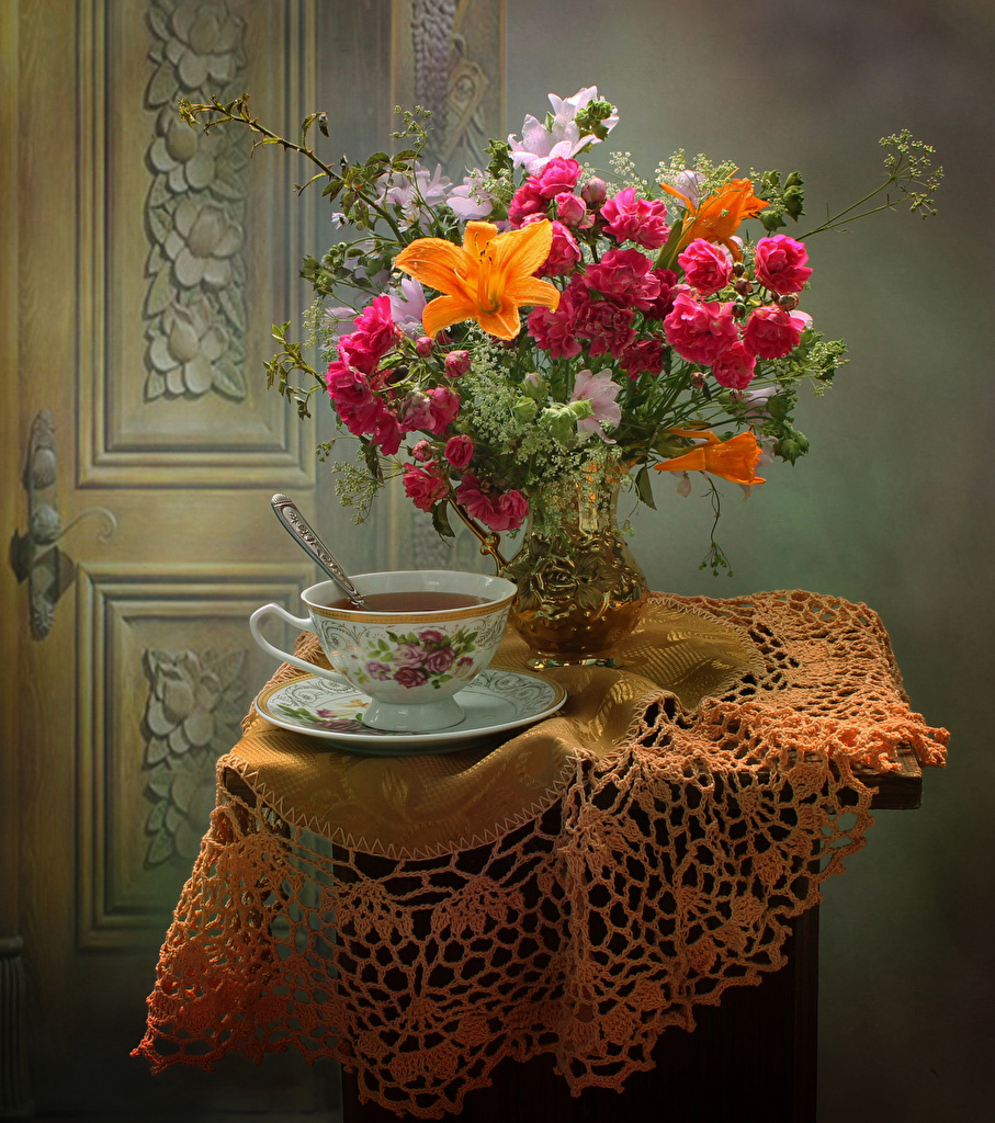 Picture Bouquets Tea Roses Lilies Flowers Cup Food Vase Table Anemones Still-life