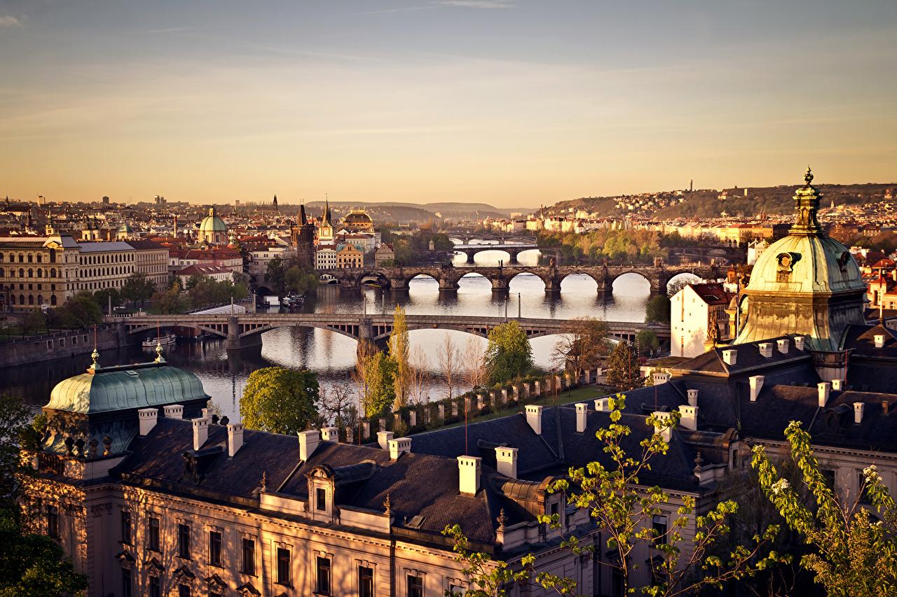 Desktop Wallpapers Prague Czech Republic bridge Cities Building Bridges Houses