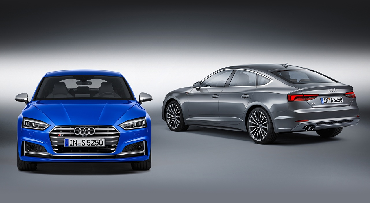 Images Audi S5, Sportback, 2016, fastback 2 Blue gray Front automobile Gray background Two Grey Cars auto