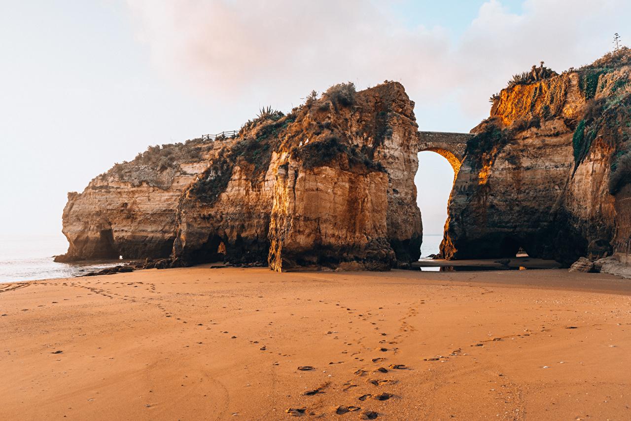 Bilder von Portugal Ponta da Piedade Strände Natur Felsen Brücken Strand Brücke