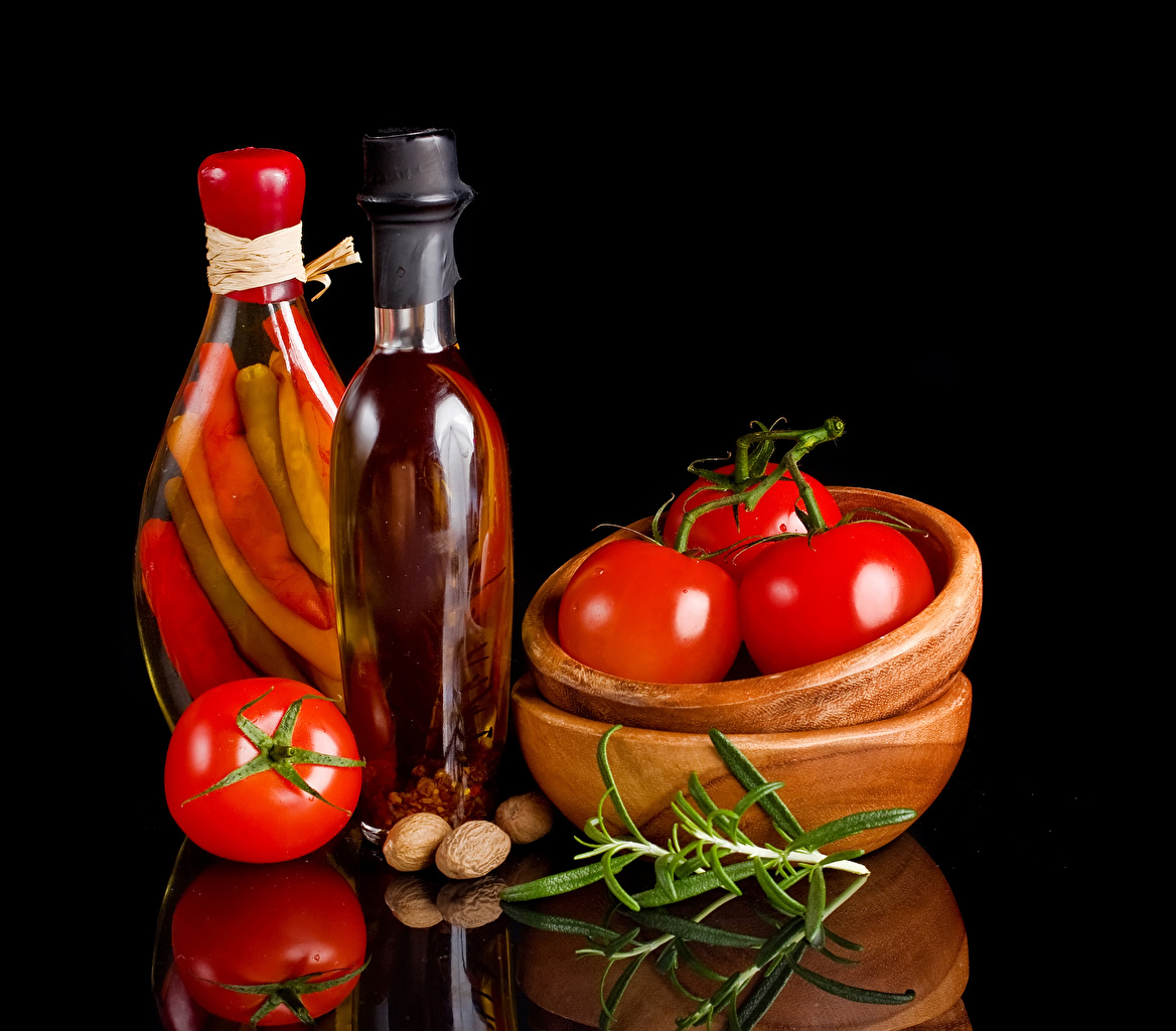Picture Tomatoes Bowl Reflection Food bottles Bell pepper Nuts Black background reflected Bottle
