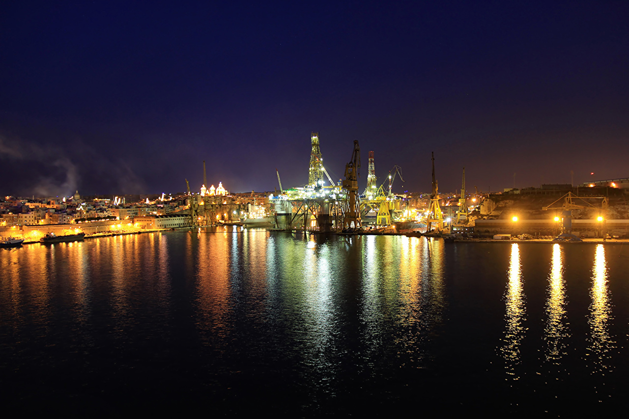Desktop Wallpapers Malta Floriana river Berth Night Houses Cities Pier Rivers Marinas night time Building