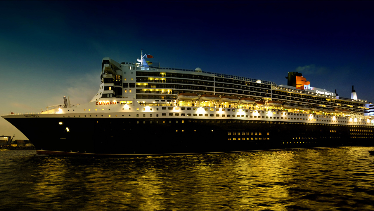 Image Cruise liner Sea Ships Night ship night time