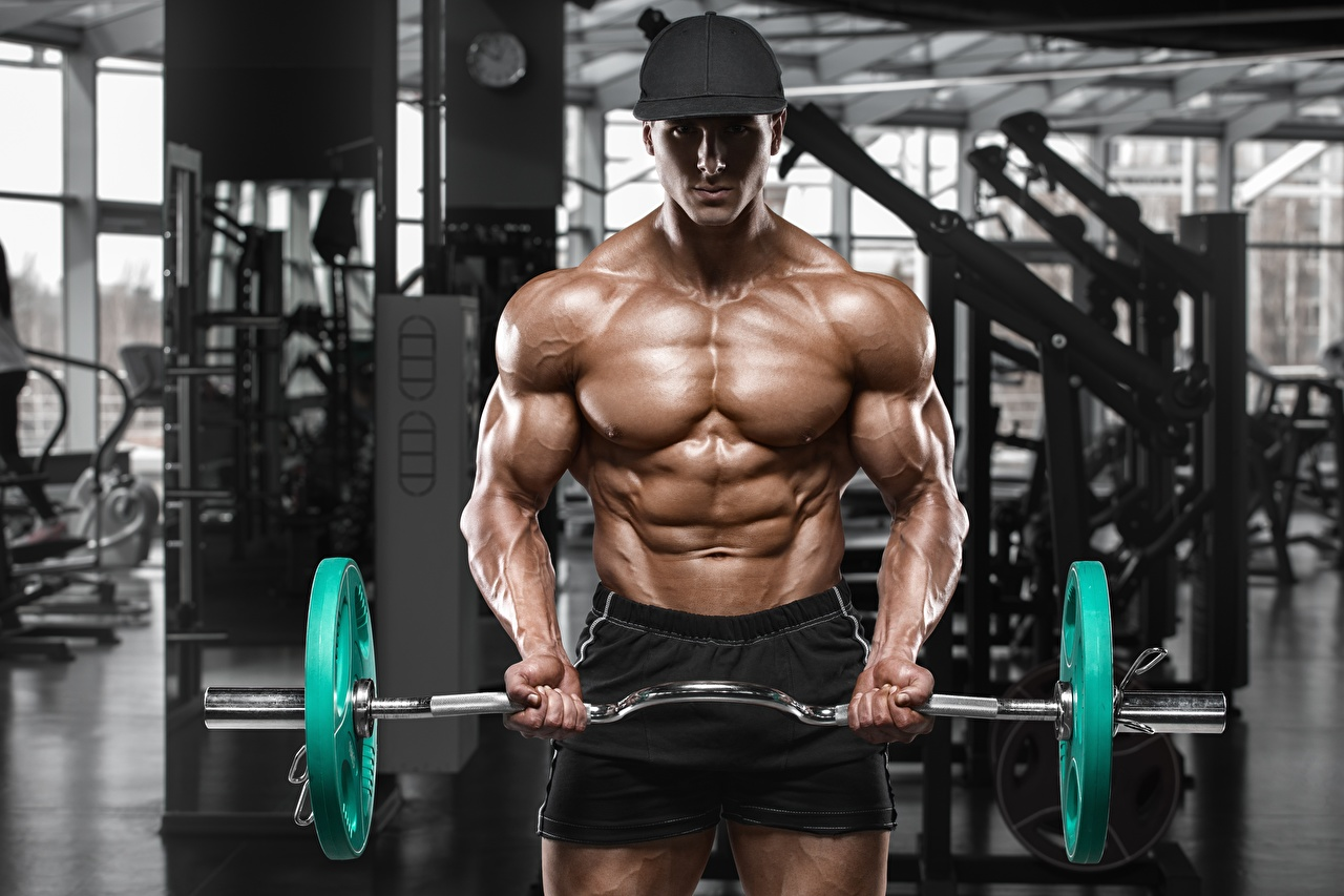Photo Men Gym Muscle Workout sports Barbell Bodybuilding Baseball cap Man Physical exercise Sport athletic