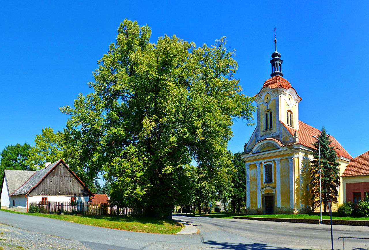 Images Church Czech Republic Roads Temples Trees Cities temple