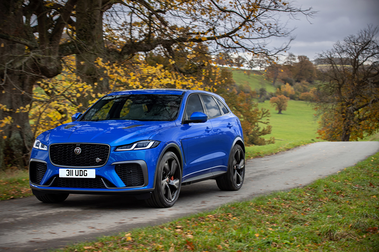 Wallpaper Jaguar CUV F-Pace SVR, 2020 Blue Roads moving Cars Metallic Crossover Motion riding driving at speed auto automobile