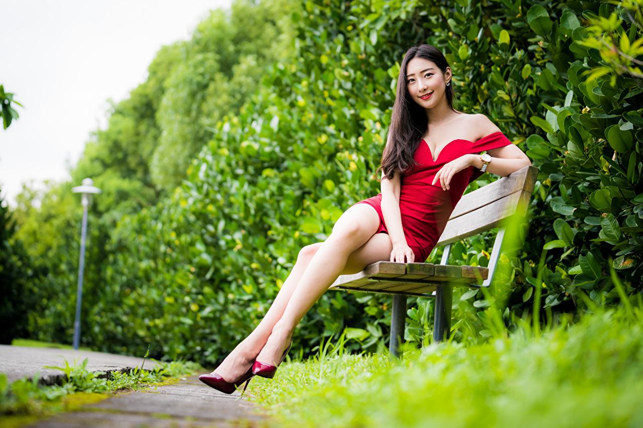 Foto Lächeln Bokeh Mädchens Bein Asiaten sitzt Bank (Möbel) Kleid unscharfer Hintergrund junge frau junge Frauen Asiatische asiatisches sitzen Sitzend