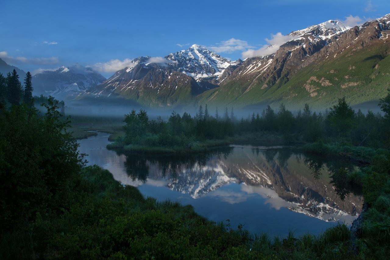 Foto Alaska verenigde staten Bergen Natuur Bossen rivier Amerika berg bos Rivieren